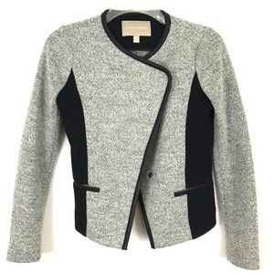 Banana Republic Two-Tone Cropped Moto Style Blazer